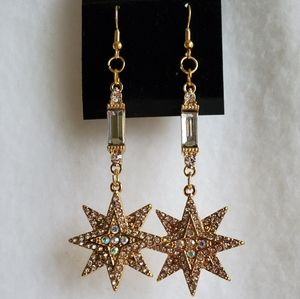 Women's gold & rhinestone accent earrings